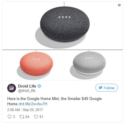 구글 AI 스피커 '구글 홈 미니'