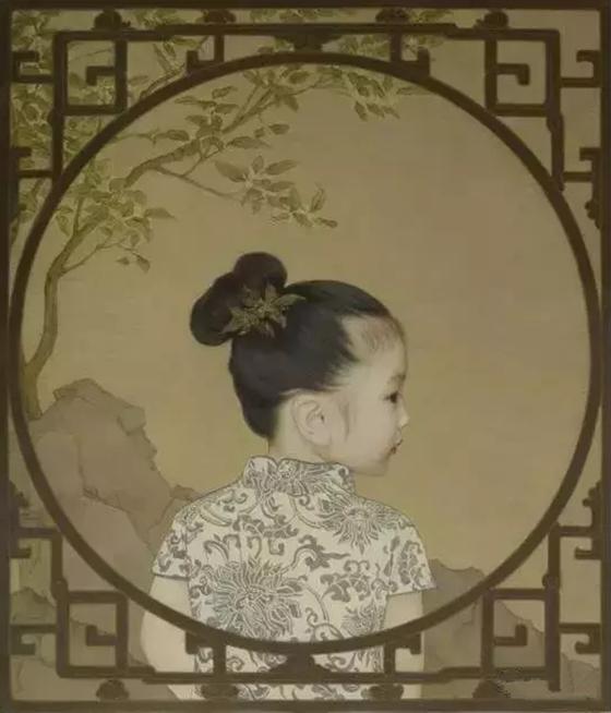 딸들을 동양화 화폭에 담아낸 중국 '