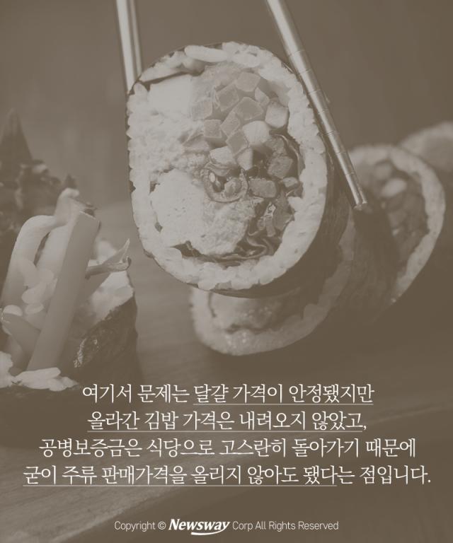 '김밥 두 줄이요…헉!' 외식이 겁나