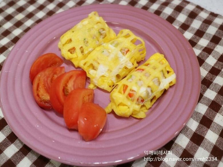 계란 그물 주먹밥 만들기