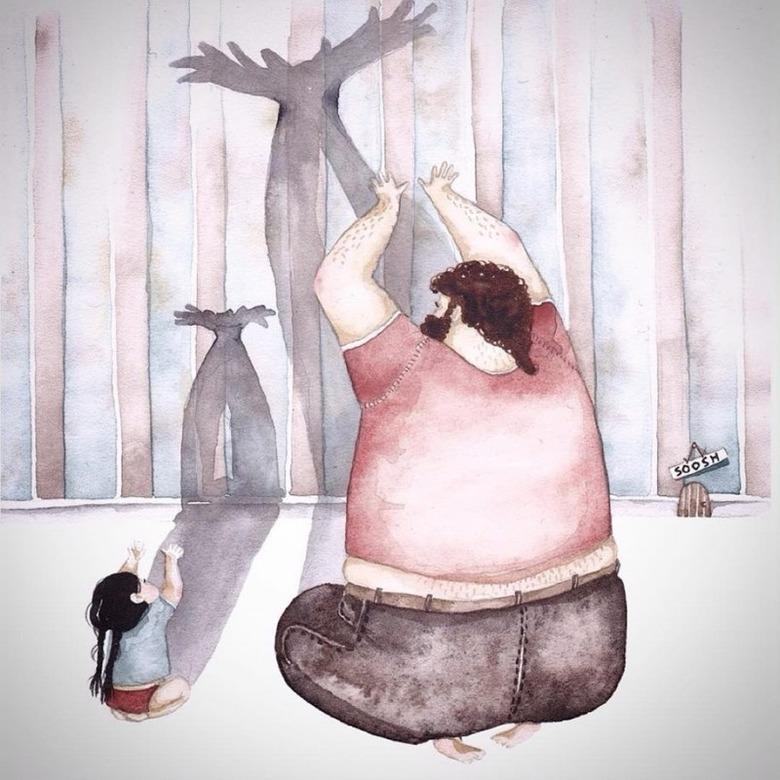 아빠와 딸의 사이를 보여주는 그림