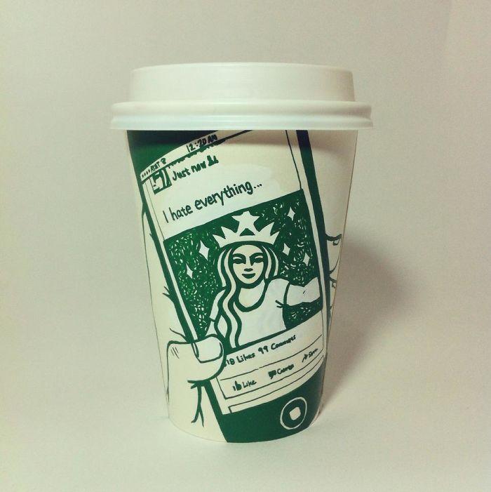 스타벅스 컵을 이용한 신박한 일러스트