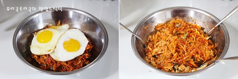 무생채무침 하나로 만든 비빔밥 한 그