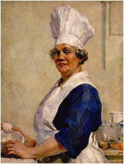 여성이 직업적으로 요리할 때