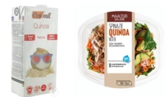 스페인의 에코밀(Ecomil) 퀴노아 음료(좌), 네덜란드 슈퍼마켓체인인 알버트하인(Albert Heijn)의 퀴노아 간편식(우)