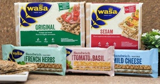해태제과는 스웨덴 왕실과자로 유명한 '와사(Wasa)'를 독점수입한다. 통곡물 함량 73%로, 미량의 소금만으로 간을 맞춰 고소하면서 담백하다.