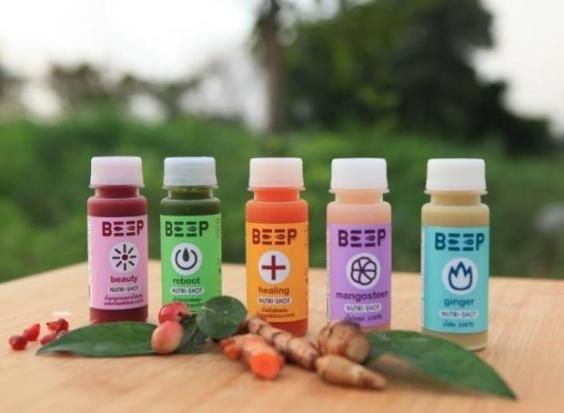 태국의 '프레셔 키친'이 생산하는 착즙주스 브랜드인 빕(Beep)