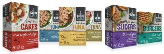 굿캐치가 생산하는 제품들. 6종의 콩에서 추출한 단백질을 기반으로 생선의 질감과 맛을 구현했다.