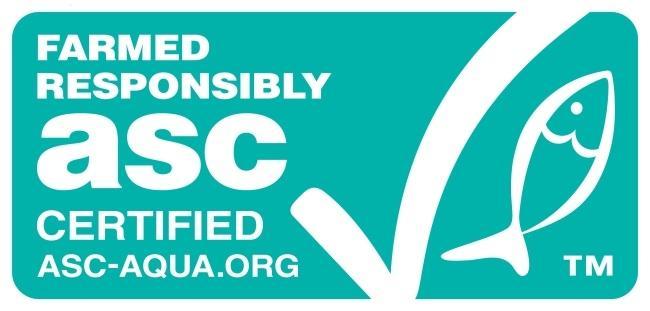 ASC(세계양식책임관리회) 인증을 받은 수산물 제품에 부착되는 마크.