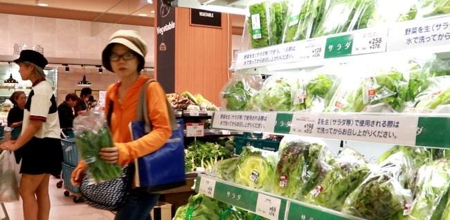 일본 도쿄의 한 대형마트에서 채소를 고르고 있는 소비자들 [사진=윤현종 기자]