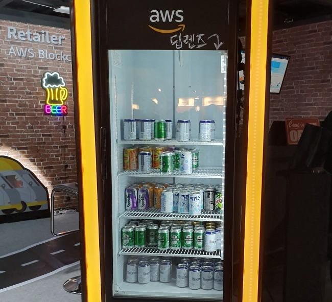 지난 18일 서울 삼성동 코엑스에서 열린 AWS 서밋 서울 2019에서 선보인 'AWS 블록체인 펍' [민상식 기자/mss@]