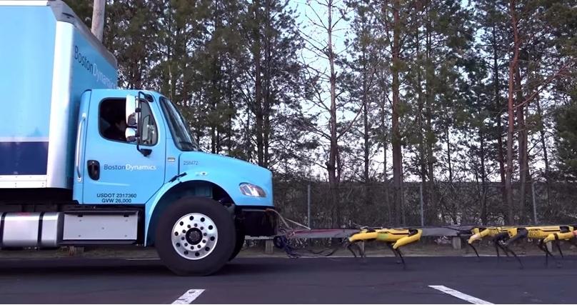 12톤 트럭 끄는 로봇개 10마리