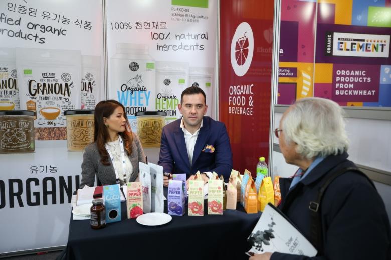 'EU 유기농 식품 및 음료 전시상담회'에서는 유럽 유기농 인증을 받은 50여개 식음료 업체가 독특하고 건강한 식품들을 선보였다. [사진=EU게이트웨이]
