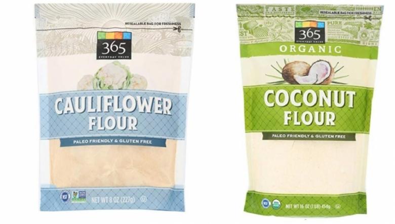 콜리플라워(좌)와 코코넛가루 제품(우)