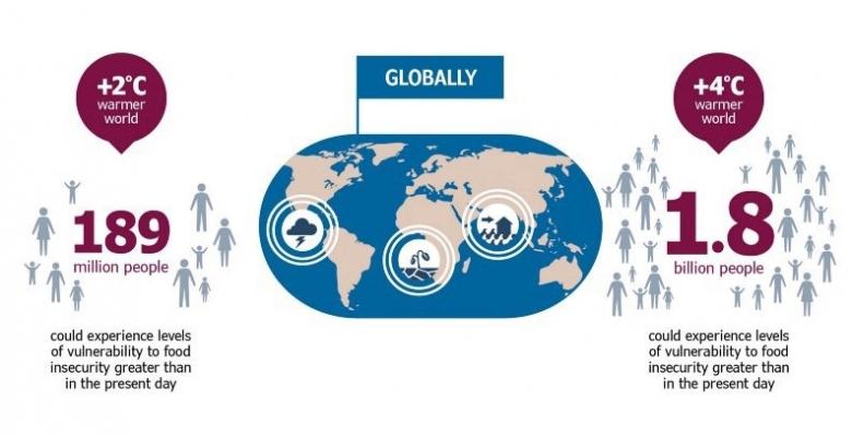 지구 온도가 산업화 이전 수준보다 섭씨 2도 상승하면 기아인구는 약 1억 8900만 명이 더 늘어난다. 그래픽=WFP