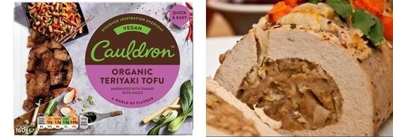 영국 칼드론사의 유기농 두부 제품(좌)과 '두부 로스트'(tofu roast)