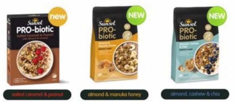 Sunsol의 프로 바이오틱 시리얼 및 뮤즐리 제품