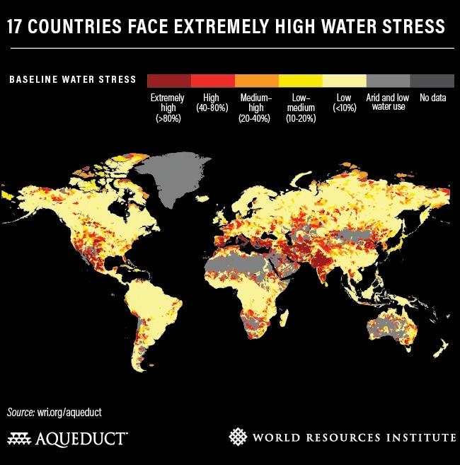 사진=세계자원연구소(WRI)의 '물 자원 리스크 지도'(Aqueduct Water Risk Atlas, 2019) 한국은 '주황색'과 '붉은색'이 섞인 상태로, 물 스트레스 지수가 높은 수준이다.