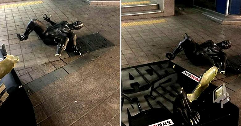 부산 '블랙팬서' 조각상, 처참한 모