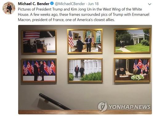 마크롱 대신 김정은 사진 걸린 백악관