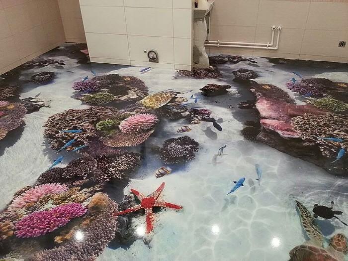 3D 아트로 만든 바닥 인테리어