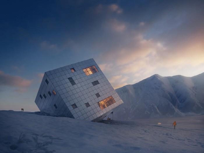 하늘에서 온 큐브형 주택?