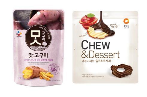 CJ제일제당 '맛고구마'(왼쪽)와 대상 '츄앤디저트밀크초코사과'.