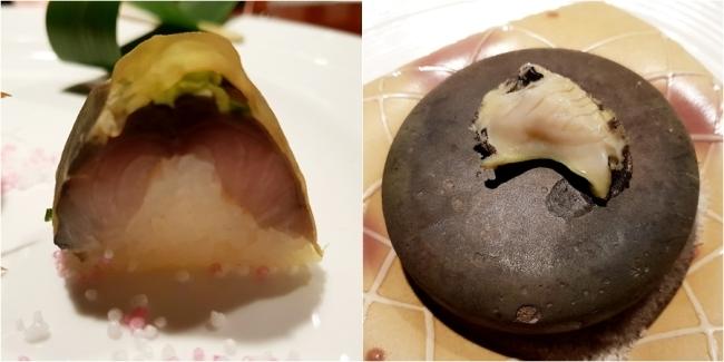 15일 갈라 디너의 메뉴들. 고등어 초밥(왼쪽)과 해산물 돌구이.