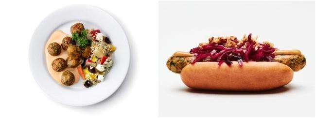 베지볼(왼쪽)과 베지 핫도그. 이케아가 내놓은 채식 메뉴로, 한국 매장에선 베지볼만 판매하고 있다. [사진=이케아]