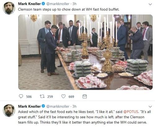 맥도날드 햄버거로 백악관 만찬 차린