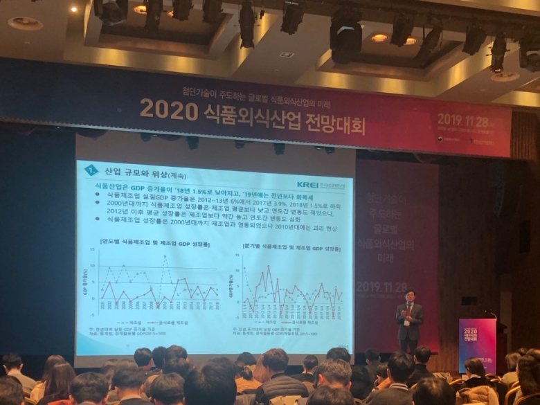 이용선 한국농촌경제연구원 선임 연구위원이 '2020 식품외식산업 전망대회' 에서 2020년 식품 산업에 대한 전망을 내놓고 있다.
