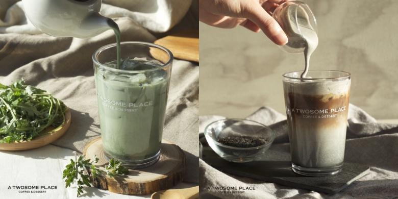 사진=쑥과 흑임자를 활용한 음료. '쑥 라떼'(좌)와 '흑임자 카페라떼'(우)
