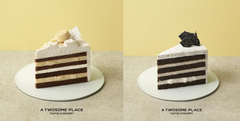 사진=인절미와 흑임자를 넣은 케이크. '인절미 클라우드 생크림 케이크'(좌)과 '흑임자 튀일 생크림 케이크'(우)