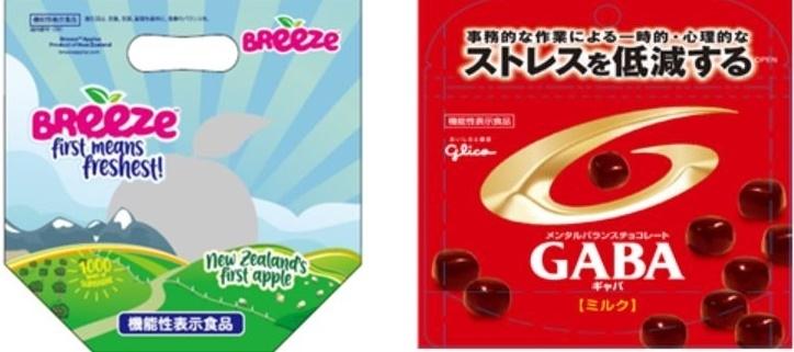 일반식품에 기능성이 표시된 일본의 대표사례. 내장지방 감소해주는 사과(좌)와 스트레스 낮춰주는 초콜릿(우)( [사진=aT]