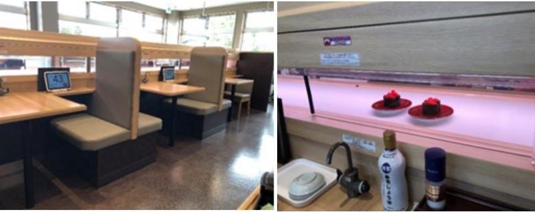 겐키스시의 코로나 대응 점포 운영방식(좌측: 2인용 테이블, 우측: 초밥 제공방식)