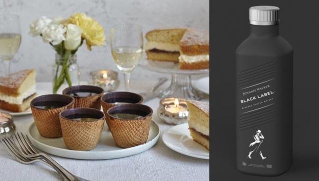 비스킷 커피잔' (좌), 세계 최초 100% '플라스틱-프리' 종이 주류병(우)