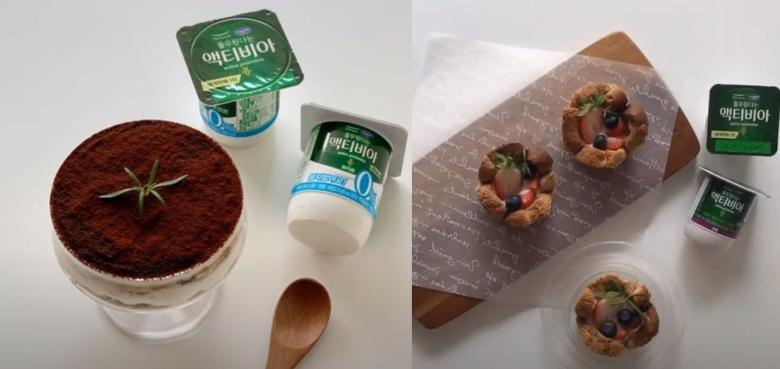 '액티비아 요거트 티라미수', '액티비아 통밀식빵 푸룬 요거트 컵케이크' [사진=풀무원다논]