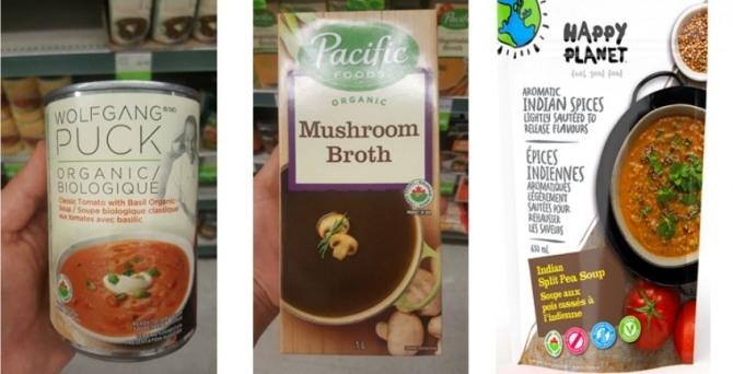 캐나다에서 판매중인 유기농 간편식 제품들