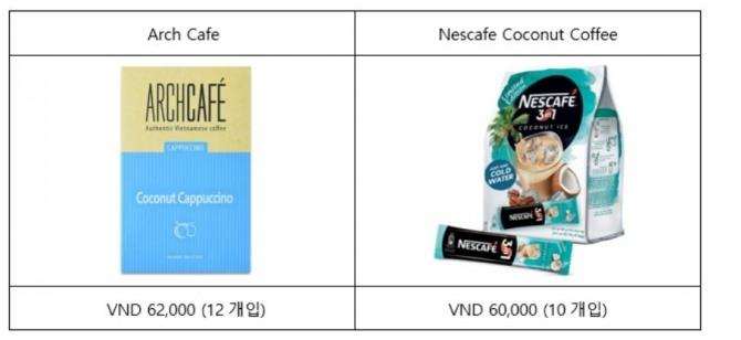 코코넛 성분과 향을 첨가한 인스턴트 커피 류