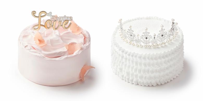 더 메나쥬리 '러브 블라썸'(왼쪽), '티아라 러플'(오른쪽) 케이크 [사진= 신세계푸드]