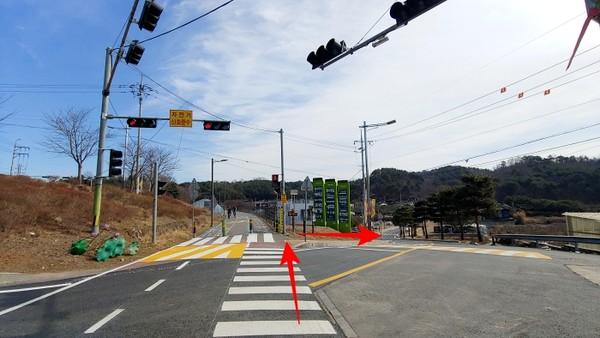 남한강 자전거길과 갈라지는 지점
