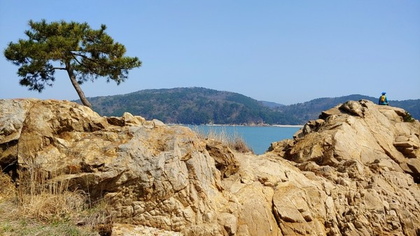 박주기 해변의 갯바위는 형태가 매우 늠름하다.