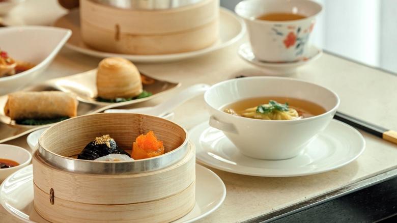 오징어먹물, 새우 등 건강한 식재료로 맛을 낸, 차오란 대표 메뉴인 모듬딤섬 세트. [롯데호텔 제공]