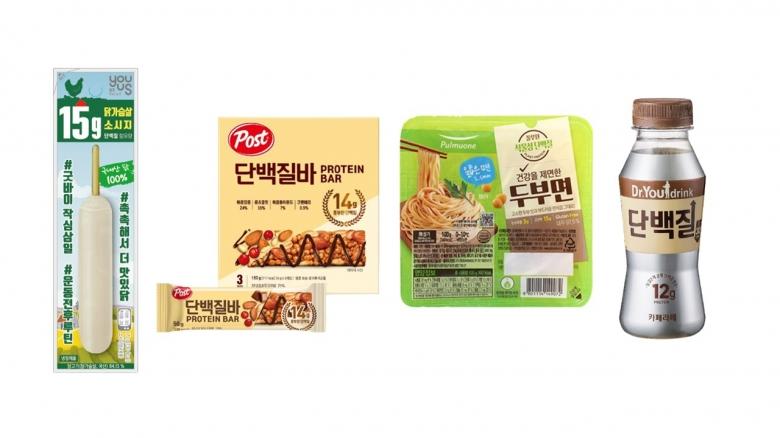 왼쪽부터 GS25 '닭가슴살소시지', 동서식품 '포스트 단백질바', 풀무원 '건강을 제면한 두부면',오리온 '닥터유 드링크 단백질 카페라떼'