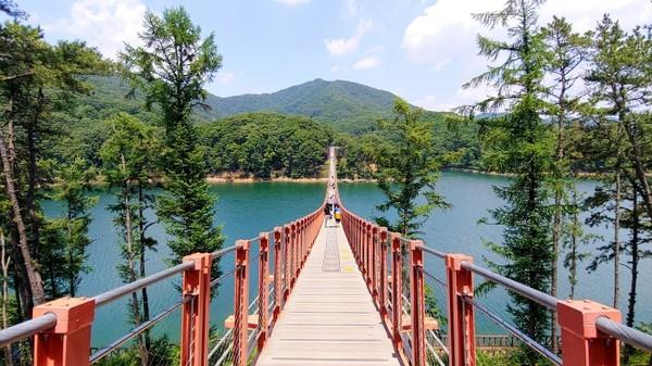 호수위의 다리는 과연 비경이다.
