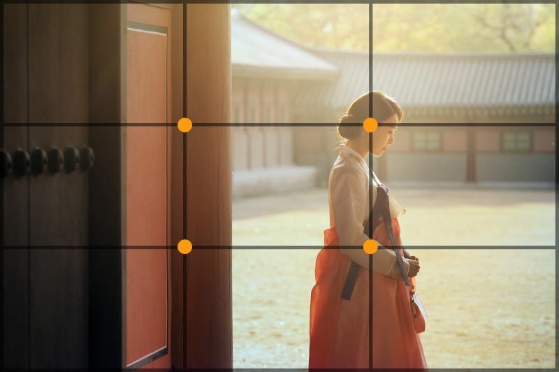 삼분할로 생기는 4개의 점 중 하나에 인물의 얼굴을 넣어 준다. 서울 창덕궁