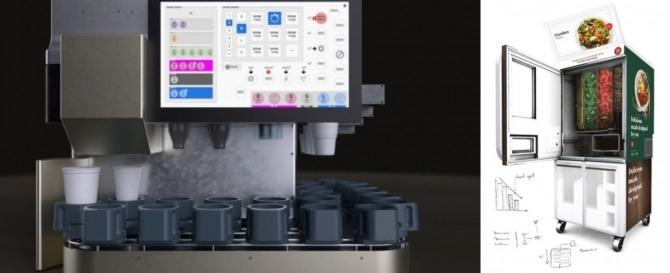 misorobotics의 지능형 자동화 음료 디스펜서(좌), chowbotics의 샐러드 주문을 받고 만드는 로봇 샐리(우)