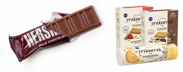 허쉬 초콜릿(좌), 핀란드 파제르(Fazer) 귀리 비스킷